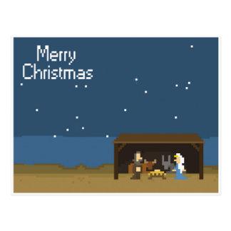 Postal escena de 8 bits de la natividad del navidad
