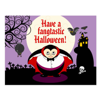 Postal Escena de Drácula del vampiro de Halloween del