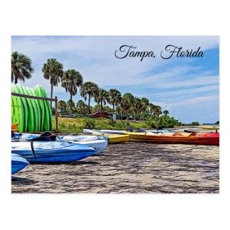 Postal Escena de la playa de Tampa la Florida con la