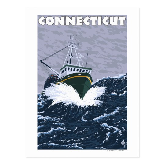 Postal Escena del barco de pesca de ConnecticutCrab