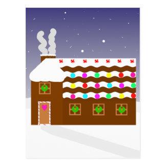 Postal Escena dulce del invierno del ~ de la casa de pan