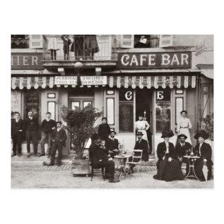 Postal Escena francesa de la calle de la barra del café