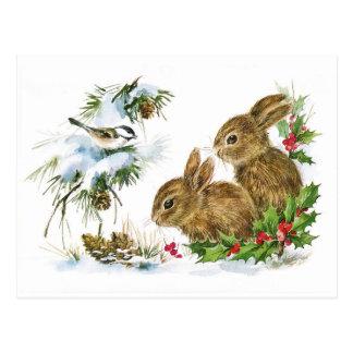 Postal Escena linda del navidad de los conejos del