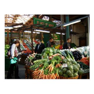 Postal Escenas inglesas, mercado de la ciudad, verduras