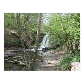 Postal escénica de la cascada del parque de Wepre