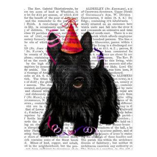 Postal Escocés Terrier y gorra del fiesta
