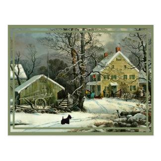 Postal Escoceses en el invierno, hogar para los días de