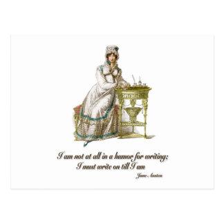 Postal Escriba encendido dice a Jane Austen