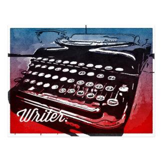Postal Escritor con arte pop del rojo azul de la máquina