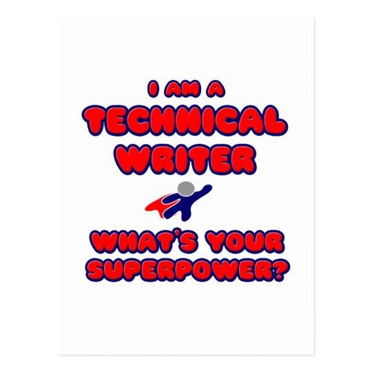Postal Escritor técnico. ¿Cuál es su superpotencia?