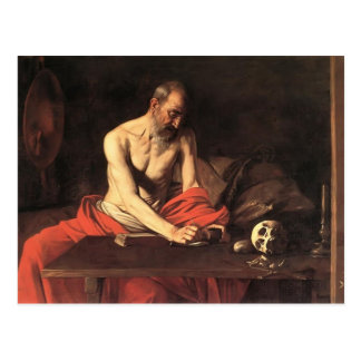 Postal Escritura de Jerome del santo de Caravaggio-