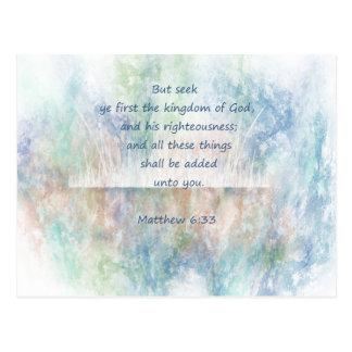 Postal Escritura de la biblia de dios de YE primer de la