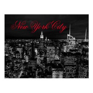 Postal Escritura roja negra y blanca de la noche de New