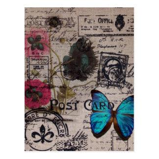 Postal escrituras azules de la mariposa del país francés