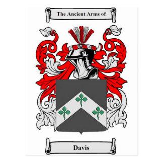 Postal Escudo de armas de Davis (Irlanda)