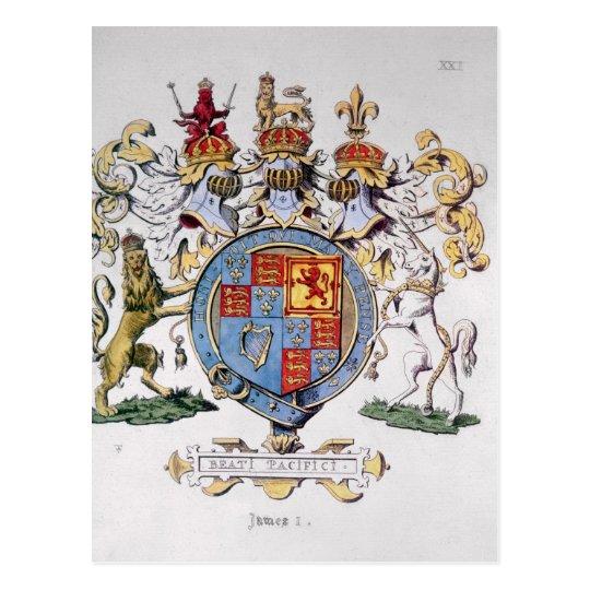 Postal Escudo de armas de rey James I de Inglaterra