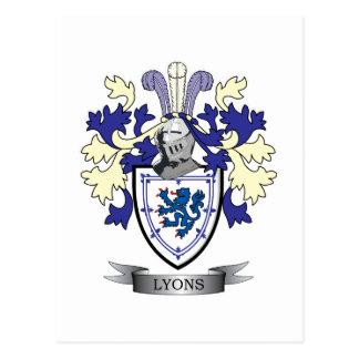 Postal Escudo de armas del escudo de la familia de Lyon