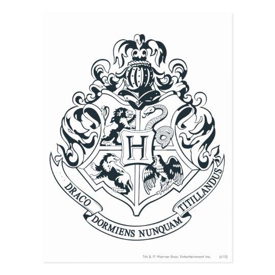 Postal Escudo De Harry Potter El Hogwarts Blanco Y Zazzlees