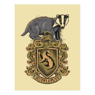 Postal Escudo de Harry Potter el   Hufflepuff con el