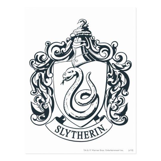 Postal Escudo De Harry Potter El Slytherin Blanco Y Zazzlees