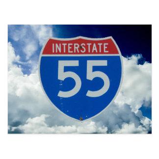Postal Escudo de la autopista 55 contra las nubes y el