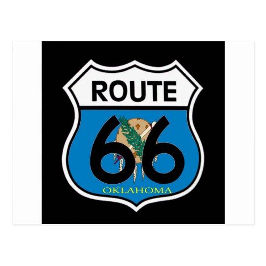 Postal Escudo de la ruta 66 de la bandera de Oklahoma