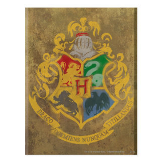 Postal Escudo rústico de Harry Potter el | Hogwarts
