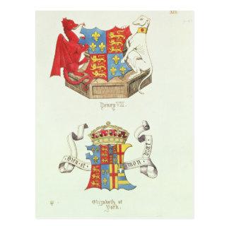 Postal Escudos de armas de Henry VII y de Elizabeth de