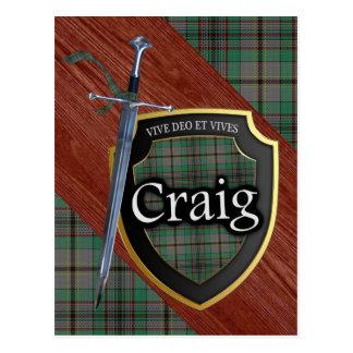 Postal Espada y escudo del tartán de Craig del clan