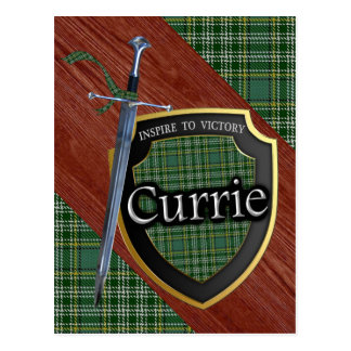 Postal Espada y escudo del tartán de Currie del clan