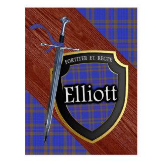 Postal Espada y escudo del tartán de Elliott del clan