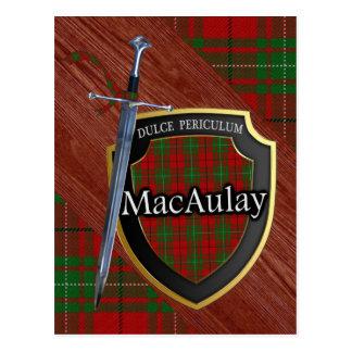 Postal Espada y escudo del tartán de MacAulay del clan
