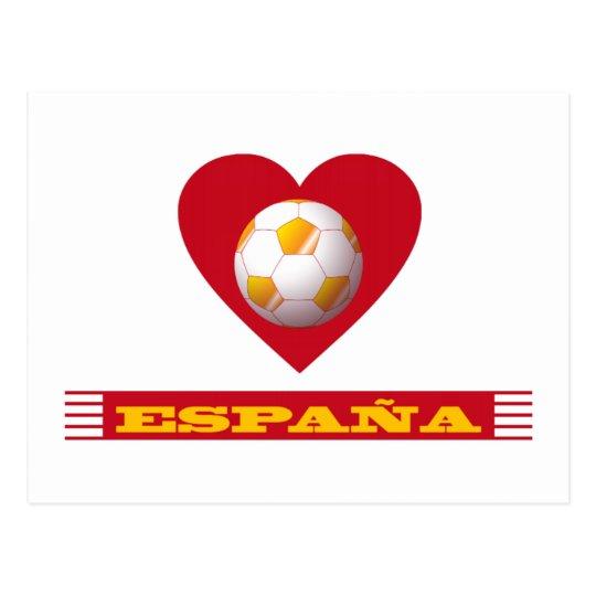 Postal ESPAÑA Fútbol Corazón y Bufanda Brasil 2014