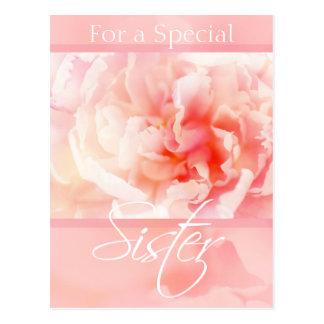 Postal especial de la hermana de los Peonies rosad