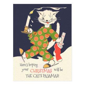 Postal ¡Esperar su navidad será los pijamas del gato!