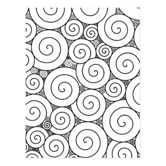 Postal Espirales negros y blancos geométricos apacibles