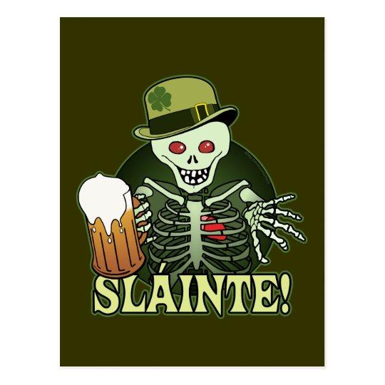 Postal Esqueleto feliz de la cerveza