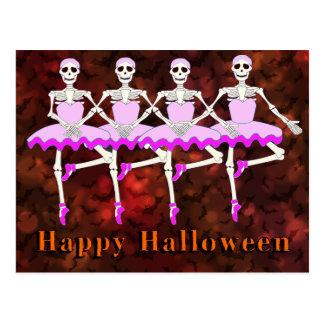 """Postal Esqueletos que bailan el ballet """"feliz Halloween """""""