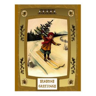 Postal Esquí con un Cristo; árbol de los qs