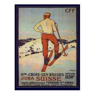 Postal Esquí del vintage, rasses de los les del St Croix,