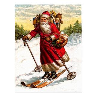 Postal Esquí Papá Noel