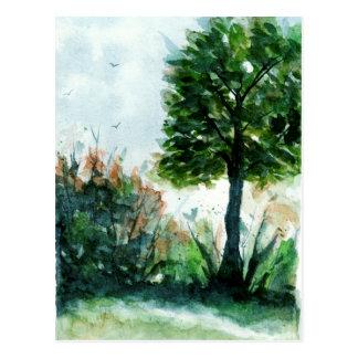 Postal Estaciones de la naturaleza del árbol del arte del