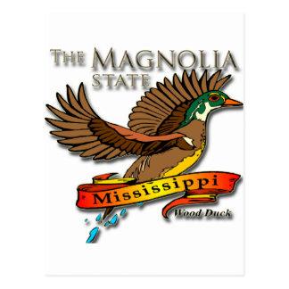 Postal Estado de la magnolia del pato de madera de