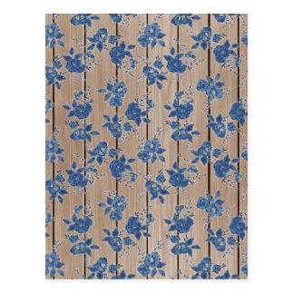 Postal Estampado de flores del azul del vintage
