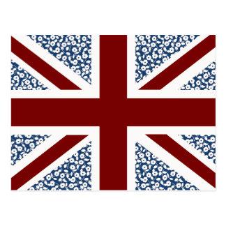 Postal Estampado de flores del calicó de la bandera de