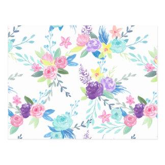 Postal Estampado de flores del color en colores pastel de