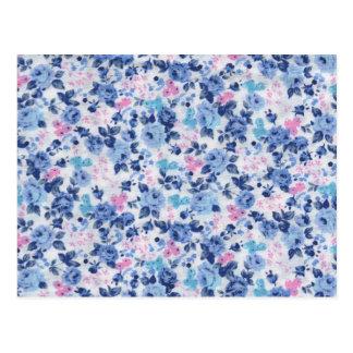 Postal Estampado de flores lindo rosado azul de los rosas