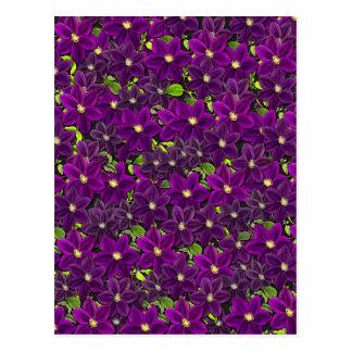 Postal Estampado de flores púrpura