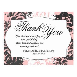 Postal Estampado de flores rosado, blanco, y gris