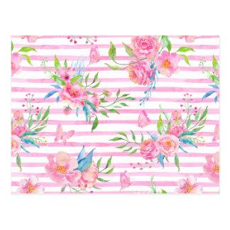 Postal Estampado de flores rosado de la acuarela con las